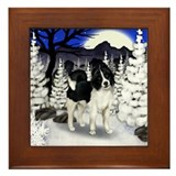 AKITA DOG WINTER MOON Framed Tile