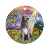 Cloud Angel & Irish Wolfhound Ornament (Round)