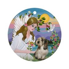 Angel and Petit Basset Ornament (Round)