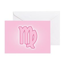 Pink Zodiac Virgo Greeting Card