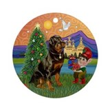 Rottweiler Christmas Fantasy Ornament (Round)