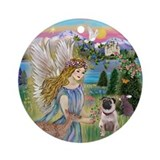 Garden Angel and fawn Pug Ornament (Round)