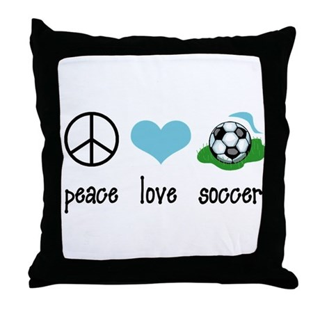 Peace Love Soccer Throw Pillow