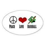 Peace Love Baseball Oval Sticker (10 pk)