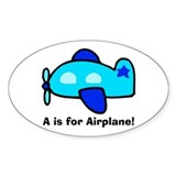 A is for Airplane! Oval Decal
