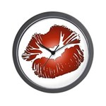 Red Lips Kiss Wall Clock