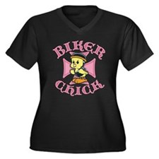 Biker Chick Women's Plus Size V-Neck Dark T-Shirt