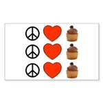 Peace Love & Cupcakes Rectangle Sticker