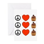 Peace Love & Cupcakes Greeting Cards (Pk of 20)