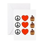 Peace Love & Cupcakes Greeting Card