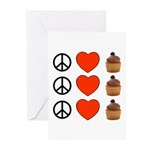 Peace Love & Cupcakes Greeting Cards (Pk of 10)