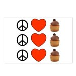 Peace Love & Cupcakes Postcards (Package of 8)