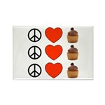 Peace Love & Cupcakes Rectangle Magnet