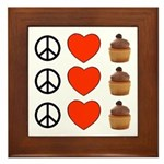 Peace Love & Cupcakes Framed Tile