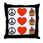 Peace Love & Cupcakes Throw Pillow