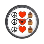 Peace Love & Cupcakes Wall Clock