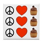 Peace Love & Cupcakes Tile Coaster