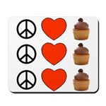 Peace Love & Cupcakes Mousepad