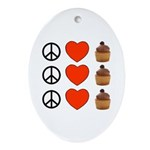 Peace Love & Cupcakes Oval Ornament