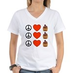 Peace Love & Cupcakes Women's V-Neck T-Shirt
