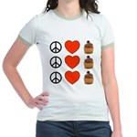 Peace Love & Cupcakes Jr. Ringer T-Shirt