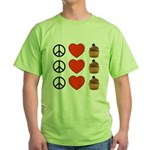 Peace Love & Cupcakes Green T-Shirt