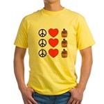 Peace Love & Cupcakes Yellow T-Shirt
