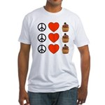 Peace Love & Cupcakes Fitted T-Shirt