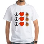 Peace Love & Cupcakes White T-Shirt