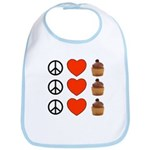 Peace Love & Cupcakes Bib