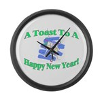 New Year's Toast Large Wall Clock