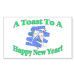 New Year's Toast Rectangle Sticker 10 pk)