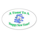 New Year's Toast Oval Sticker (10 pk)