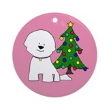 Bichon and Tree Round OrnamentOR61