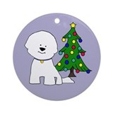 Bichon and Tree Round OrnamentOR62