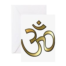 Golden Aum Greeting Card
