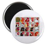 Twenty Rooster Heads Magnet