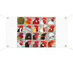 Twenty Rooster Heads Banner