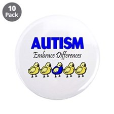 "Autism, Embrace Differences 3.5"" Button (10 pack)"