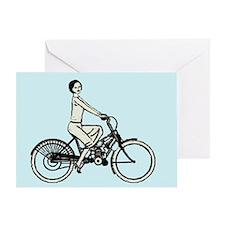 retro woman cyclist Greeting Card