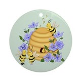 Honey Bee Dance Ornament (Round)