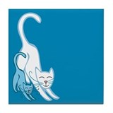 Blue Cats Tile Coaster