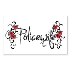PoliceWife Squiggle Rectangle Decal