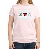 PEACE LOVE SKATE Women's Pink T-Shirt