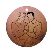 Gay Valentine Love Round Ornament