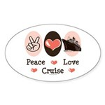Peace Love Cruise Oval Sticker (10 pk)