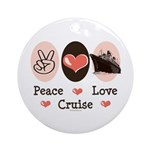 Peace Love Cruise Ornament (Round)