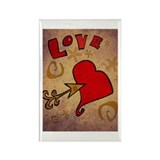 Love and a Big Heart Rectangle Magnet (100 pack)