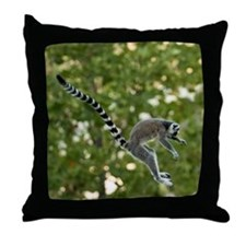 Lemur Jump Throw Pillow