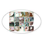 Twenty Pigeon Heads Oval Sticker